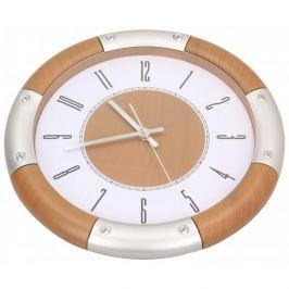 Zegar ścienny plastikowy KINGHOFF OKRĄGŁY BRĄZOWY