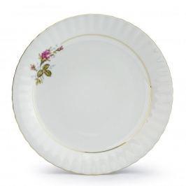 Talerz deserowy porcelanowy CHODZIEŻ IWONA GAŁĄZKA RÓŻY BIAŁY 19 cm