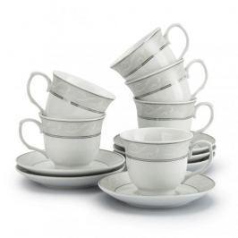 Filiżanki do kawy i herbaty ceramiczne ze spodkami MARIA LINEA BIAŁE 220 ml 6 szt.