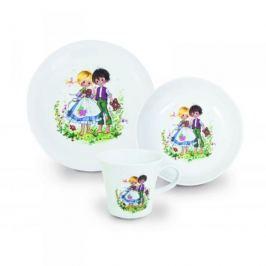 Naczynia dla dzieci porcelanowe KAHLA JAŚ I MAŁGOSIA BIAŁE 3 szt.