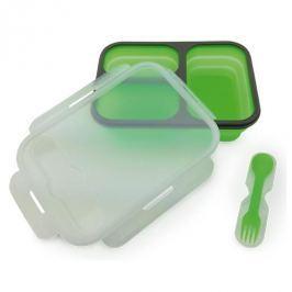 Lunch box silikonowy dwukomorowy z widelcem CAMRY NOMAD ZIELONY 1,2 l
