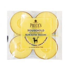 Świeczki zapachowe tealihgt woskowe neutralizujące przykre zapachy PRICE'S CANDLES HOUSEHOLD ŻÓŁTE 4 szt.