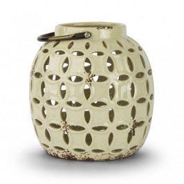 Lampion ozdobny ceramiczny DUO INFINITY KREMOWY 18 cm