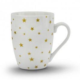 Kubek porcelanowy DUO GOLD STARS BIAŁY 330 ml