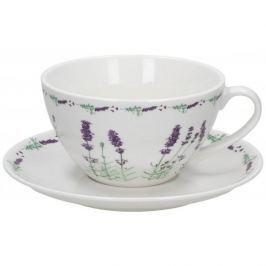 Filiżanka do kawy i herbaty porcelanowa ze spodkiem DUO LAVENDER BIAŁA 320 ml