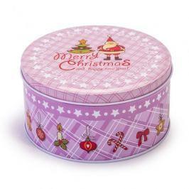 Puszka świąteczna na ciastka i pierniki metalowa GWIAZDOR RÓŻOWA 0,9 l