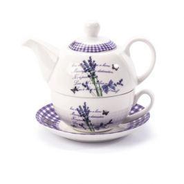 Dzbanek do herbaty i kawy ceramiczny z filiżanką i spodkiem LAVENDER BIAŁY 0,4 l