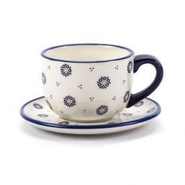Filiżanka do kawy i herbaty ceramiczna ze spodkiem FOLKLOR KÓŁKA KREMOWA 300 ml