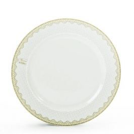 Talerz obiadowy płytki porcelanowy CHODZIEŻ SWEET KROPKI BIAŁY 24 cm