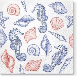 Serwetki papierowe dekoracyjne PAW SEAHORSES BIAŁE 20 szt.