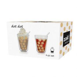 Szklanki termiczne do napojów z podwójną ścianką i 2 łyżeczkami szklane ZAK DESIGNS NINA ZŁOTE 350 ml 2 szt.