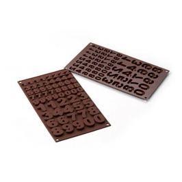 Forma do 60 czekoladek silikonowa SILIKOMART CHOCO NUMERKI BRĄZOWA