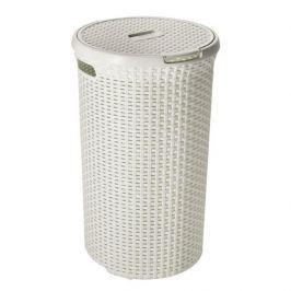 Brudownik / Kosz na pranie i bieliznę plastikowy CURVER STYLE OKRĄGŁY KREMOWY 48 l
