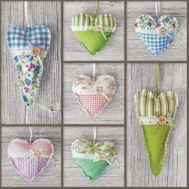 Serwetki papierowe dekoracyjne HEARTS ON WOOD SZARE 20 szt.