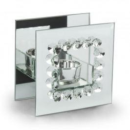 Świecznik tealight szklany DUO DIAMENT 12 cm