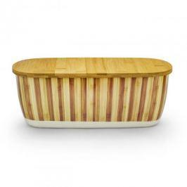 Chlebak bambusowy z deską do krojenia ODELO PASY BEŻOWY