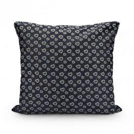 Poszewka na poduszkę ozdobna bawełniana SERDUSZKA CIEMNOSZARA 39 x 38,5 cm