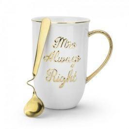 Kubek porcelanowy z łyżeczką FLORINA MRS ALWAYS RIGHT BIAŁY 450 ml