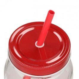 Słoik ze słomką szklany MONDEX SUMMER CZERWONY 500 ml