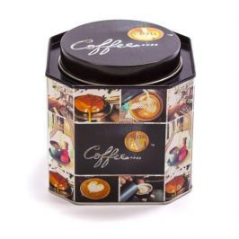 Puszka na kawę metalowa COFFEE KWADRATOWA CZARNA 0,7 l