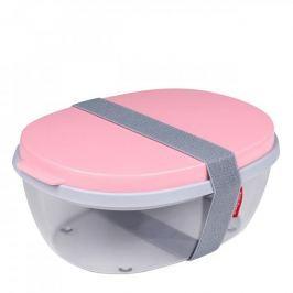 Lunch box plastikowy dwukomorowy z pojemnikiem na sos MEPAL SALAD RÓŻOWY 1,9 l