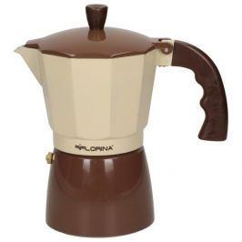 Kawiarka aluminiowa ciśnieniowa FLORINA BRĄZOWA - kafetiera na 6 filiżanek espresso