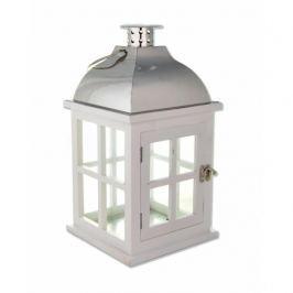 Lampion ozdobny drewniany MONDEX DOMEK BIAŁY 35 cm