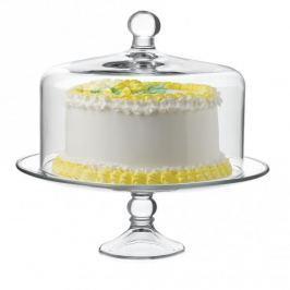 Patera stała na ciasto z kloszem szklana LIBBEY GŁADKA 32,7 cm - stojak na tort