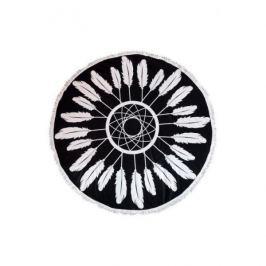 Ręcznik plażowy okrągły z frędzlami poliestrowy ECARLA PIÓRA CZARNY 150 cm