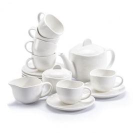 Serwis kawowy porcelanowy DUO OCEAN BIAŁY na 6 osób (15 el.)
