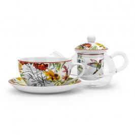 Dzbanek do herbaty i kawy szklany z zaparzaczem i filiżanką DUO LINNEA BIAŁY 0,32 l