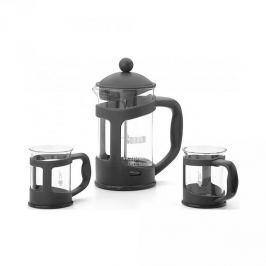 French press / Zaparzacz do kawy tłokowy szklany z filiżankami BIALETTI COFFEE CZARNY 0,8 l