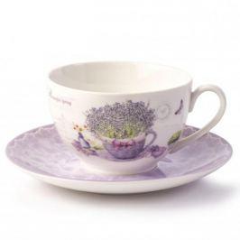 Filiżanka do kawy i herbaty porcelanowa ze spodkiem DUO LAVANDER BIAŁA  250 ml