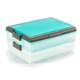 Pojemnik na ciasto dwupoziomowy plastikowy DOMOTTI DOLCE PODWÓJNY TURKUSOWY 39 x 28,5 cm