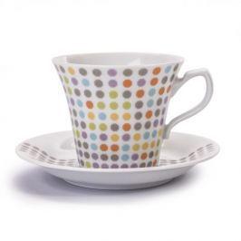 Filiżanka do kawy i herbaty porcelanowa ze spodkiem CHODZIEŻ VENUS DIANA BIAŁA 250 ml