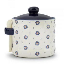 Pojemnik ceramiczny na sól FOLKLOR KÓŁKA KREMOWY 0,5 l