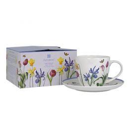 Filiżanka do kawy i herbaty porcelanowa ze spodkiem ASHDENE COTTAGE GARDEN BIAŁA 230 ml