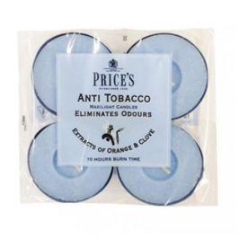 Świeczki zapachowe tealihgt woskowe neutralizujące przykre zapachy PRICE'S CANDLES ANTI TOBACCO NIEBIESKIE 4 szt.