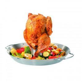 Patelnia / Wok stalowy ze stojakiem do pieczenia kurczaka GEFU ROOSTER 31 cm
