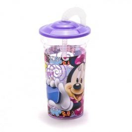 Kubek dla dziecka plastikowy ze słomką DISNEY MINNIE MOUSE FIOLETOWY 350 ml