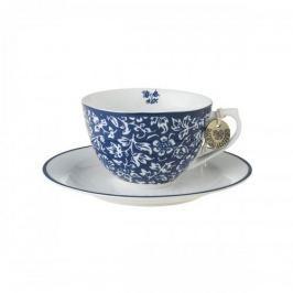 Filiżanka do kawy i herbaty porcelanowa ze spodkiem LAURA ASHLEY SWEET ALLYSUM NIEBIESKA 250 ml