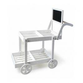 Wózek dwupoziomowy drewniany z tablicą MONDEX VINTAGE BIAŁY