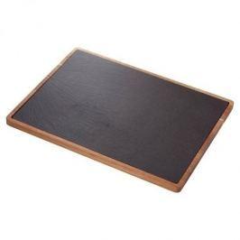 Deska do serwowania serów i przekąsek kamienna JUDGE SLATE DARK CZARNA 40 x 30 cm