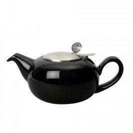 Dzbanek do herbaty ceramiczny z zaparzaczem LONDON POTTERY PEBBLE POŁYSK CZARNY 1,1 l