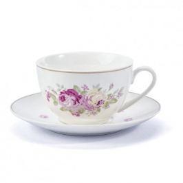 Filiżanka do kawy i herbaty porcelanowa ze spodkiem ELISA BIAŁA 220 ml