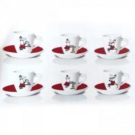 Filiżanki do espresso porcelanowe ze spodkami BIALETTI LOMINO CON I BAFFI WIELOKOLOROWE 90 ml 6 szt.