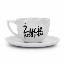 Filiżanka do kawy i herbaty ceramiczna ze spodkiem ŻYCIE JEST PIĘKNE 400 ml