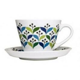 Filiżanka do kawy i herbaty ceramiczna ze spodkiem SAGAFORM RETRO BIAŁA 350 ml