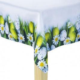 Obrus na stół wielkanocny poliestrowy MILANO PISANKI BIAŁY 85 x 85 cm