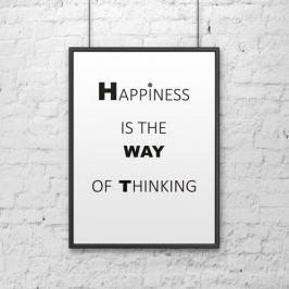 Plakat dekoracyjny 50x70 cm HAPPINESS IS THE WAY OF THINKING DekoSign biały DS-PL1-0